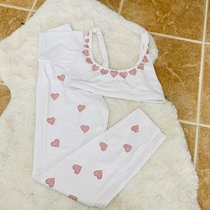 Beach riot workout outfit white with red hearts